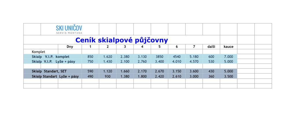 Náhled ceníku půjčovny skialpových lyží Ski Uničov